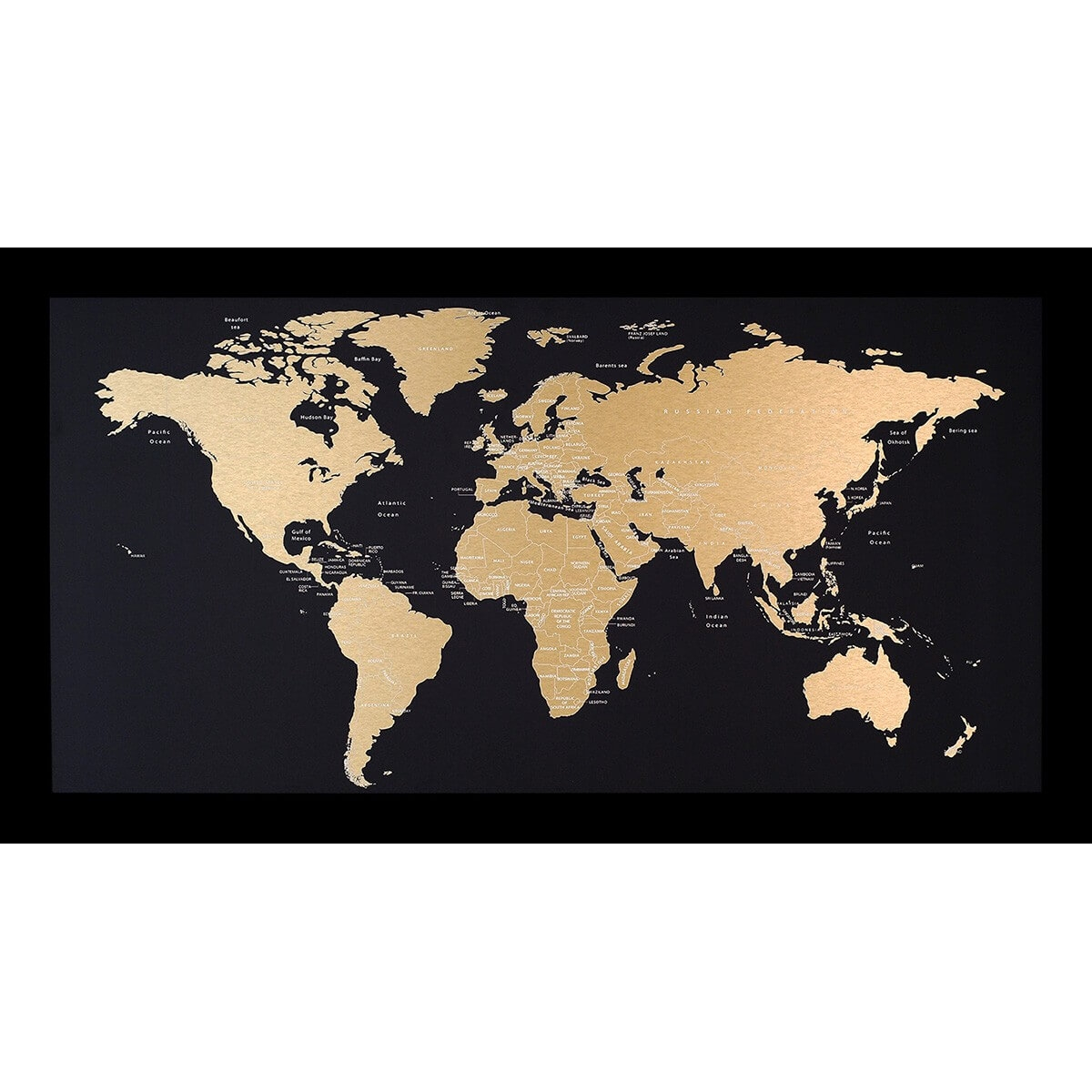 Incado metal verdenskort, Sort-Messing