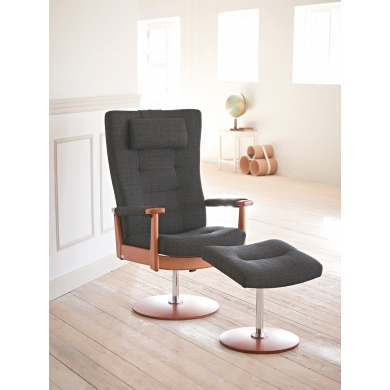 Farstrup Plus hvilestol på drejefod | stof og læder