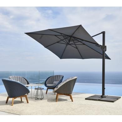 Cane-line | Hyde Luxe Tilt 3x3 parasol inkl. fod - Light Grey | Bolighuset Werenberg