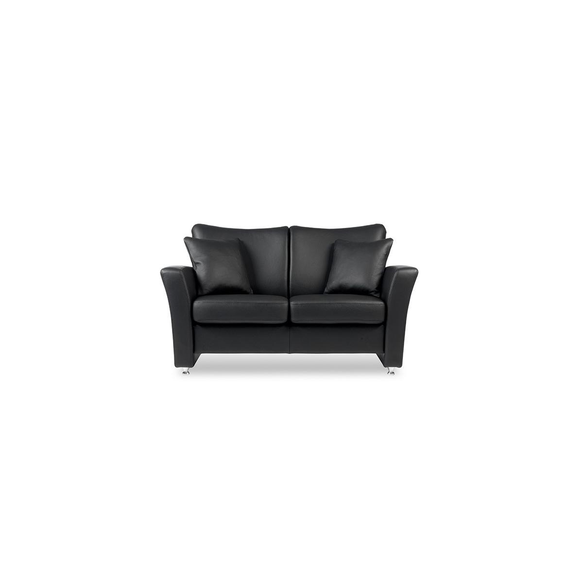 Brunstad System Pluss sofa i læder 2 personers Classic læder i sort Nero og olieret eg