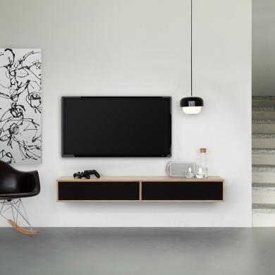 FK Natura | 2-fags XL TV-møbel i eg/hvidolie med eg/stofklap