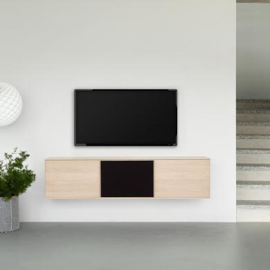 FK Natura   3-fags TV-møbel i eg/sæbe med eg/stoflåge