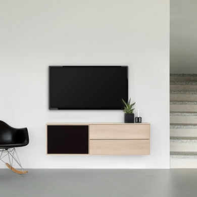 FK Natura   2-fags XL1 TV-møbel i eg/sæbe med eg/stoflåge