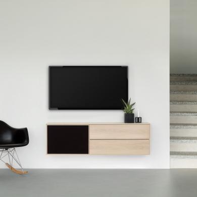 FK Natura | 2-fags XL1 TV-møbel i eg/sæbe med eg/stoflåge