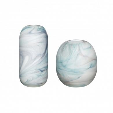 Hübsch   Vase sæt - marmor art hvid/blå - Bolighuset Werenberg