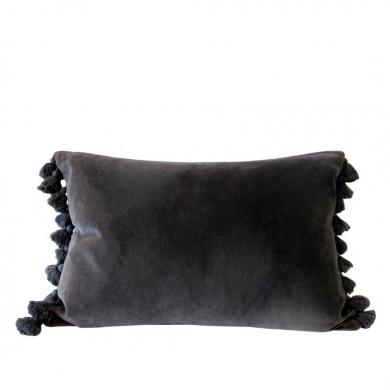 Byliving pyntepude | Grey Velvet Tassel - Bolighuset Werenberg
