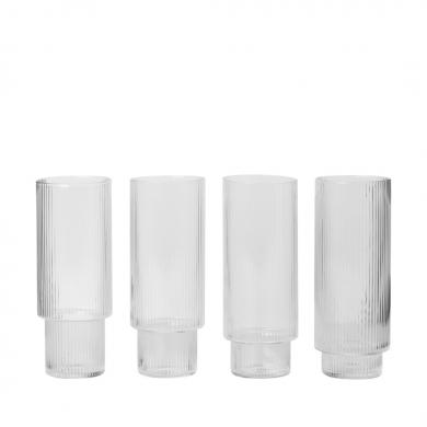 Ferm Living | Ripple Long Drink Glasses - Set of 4 | Bolighuset Werenberg