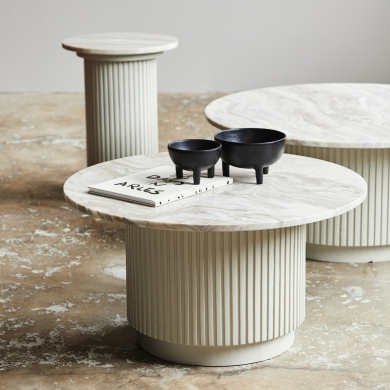 Nordal | Erie Round Coffee Table - White Marble - Bolighuset Werenberg