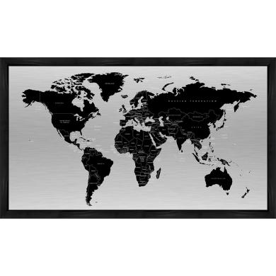 Incado metal verdenskort, Sort-Alu